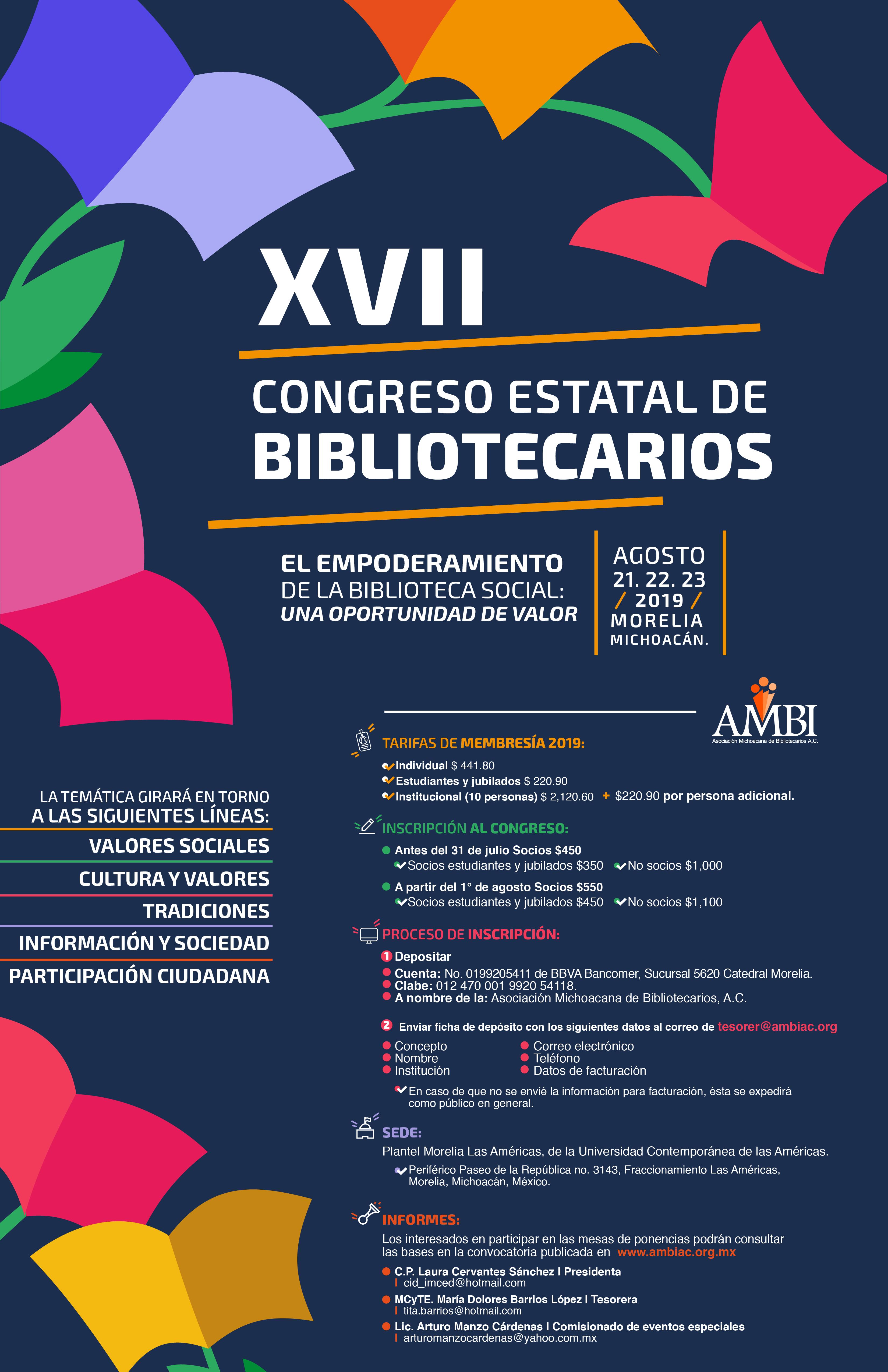 Invitación al XVII Congreso Estatal de Bibliotecarios.